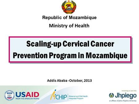 Scaling-up Cervical Cancer Prevention Program in Mozambique Republic of Mozambique Addis Ababa -October, 2013 Ministry of Health.