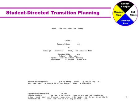 Student-Directed Transition Planning 0. The Summary of Performance Putting it All Together Image is the copyrighted property of JupiterImage and is used.