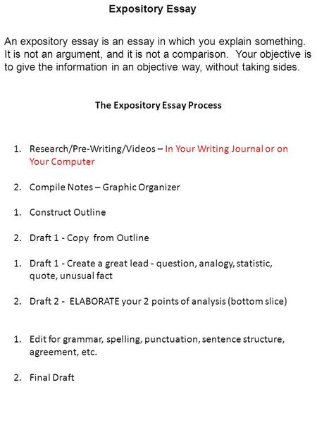 research pre writing in your writing journal or on your  the expository essay process