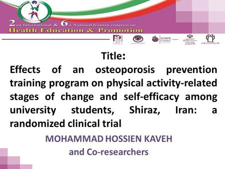 Title : Effects of an osteoporosis prevention training program on physical activity-related stages of change and self-efficacy among university students,