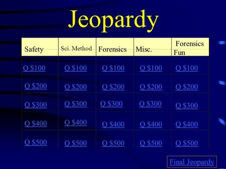 Jeopardy Safety Sci. Method ForensicsMisc. Forensics Fun Q $100 Q $200 Q $300 Q $400 Q $500 Q $100 Q $200 Q $300 Q $400 Q $500 Final Jeopardy.