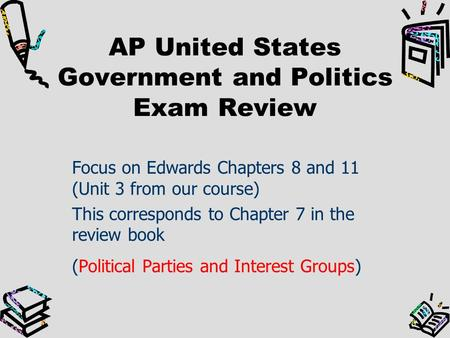 chapter 7 ap government terms Instructions, (1 click on the course study set you wish to learn) (2 if you wish you can click on print and print the test page (including the answers if you have clicked check answers) (3 when you want to take a testclick on anyone of the tests for that study set) (4 click on check answers and it will score your.