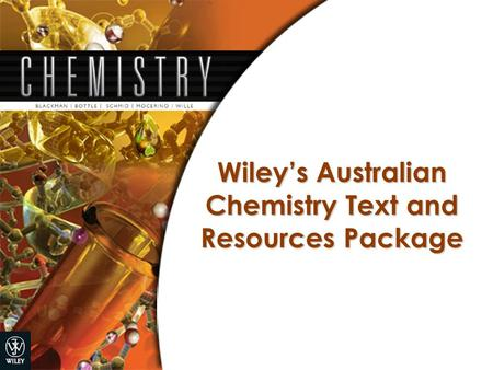 Wiley's Australian Chemistry Text and Resources Package.
