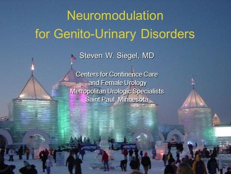 1 Neuromodulation for Genito-Urinary Disorders Steven W. Siegel, MD Centers for Continence Care and Female Urology and Female Urology Metropolitan Urologic.