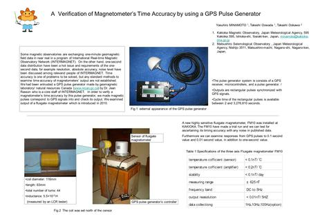 A Verification of Magnetometer's Time Accuracy by using a GPS Pulse Generator Some magnetic observatories are exchanging one-minute geomagnetic field data.