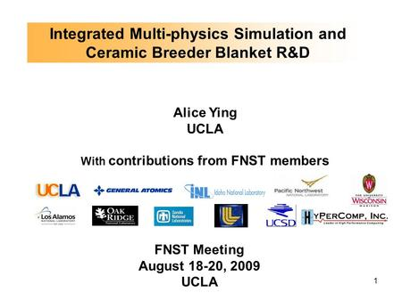 1 Integrated Multi-physics Simulation and Ceramic Breeder Blanket R&D Alice Ying UCLA With contributions from FNST members FNST Meeting August 18-20, 2009.
