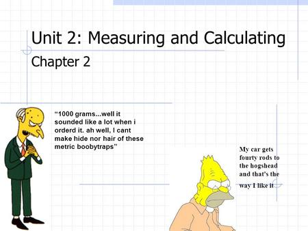 Unit 2: Measuring and Calculating