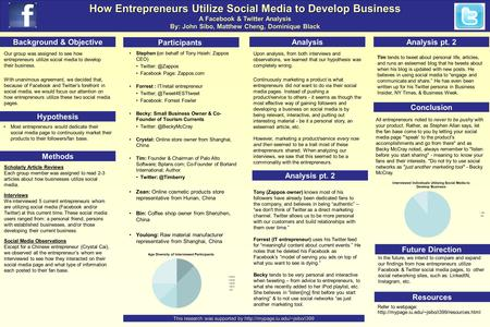 How Entrepreneurs Utilize Social Media to Develop Business A Facebook & Twitter Analysis By: John Sibo, Matthew Cheng, Dominique Black Background & Objective.