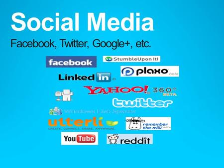Social Media Facebook, Twitter, Google+, etc.. What is Social Technology?  Communication tools  Interactive tools  Examples?