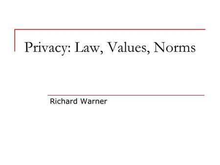 Privacy: Law, Values, Norms