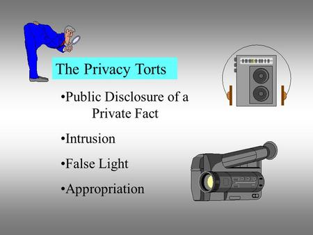 The Privacy Torts Public Disclosure of a Private Fact Intrusion False Light Appropriation.