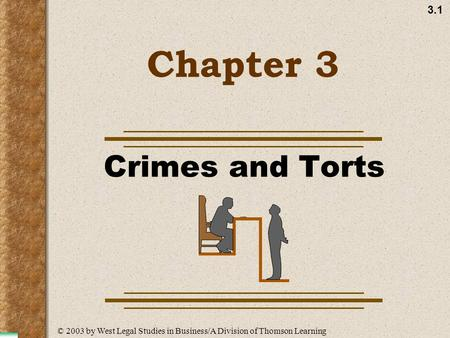 3.1 Chapter 3 Crimes and Torts © 2003 by West Legal Studies in Business/A Division of Thomson Learning.