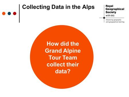 Collecting Data in the Alps How did the Grand Alpine Tour Team collect their data?