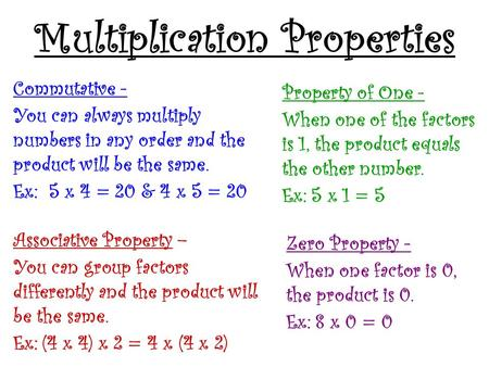 Multiplication Properties Commutative - You can always multiply numbers in any order and the product will be the same. Ex: 5 x 4 = 20 & 4 x 5 = 20 Associative.
