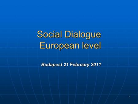 1 Social Dialogue European level Budapest 21 February 2011 Social Dialogue European level Budapest 21 February 2011.
