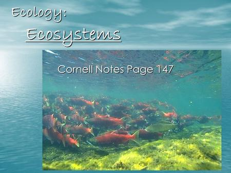 Ecology: Ecosystems Cornell Notes Page 147. What is Ecology? The study of how living things interact with each other and their environment.