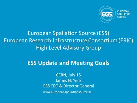 ESS Update and Meeting Goals
