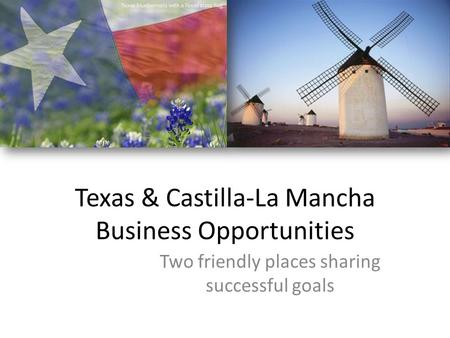 Texas & Castilla-La Mancha Business Opportunities Two friendly places sharing successful goals.