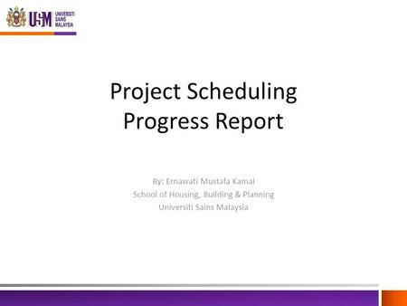 Project Scheduling Progress Report