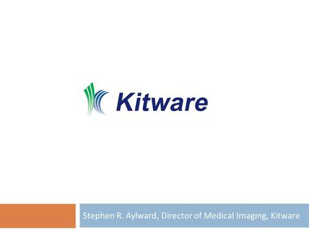 Stephen R. Aylward, Director of Medical Imaging, Kitware.
