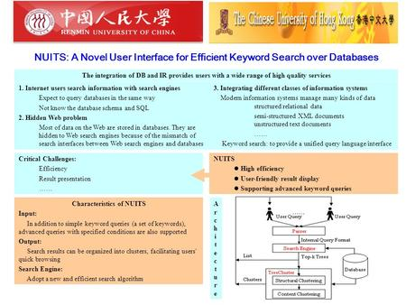 NUITS: A Novel User Interface for Efficient Keyword Search over Databases The integration of DB and IR provides users with a wide range of high quality.