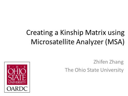 Creating a Kinship Matrix using Microsatellite Analyzer (MSA) Zhifen Zhang The Ohio State University.