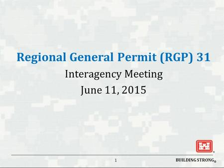 BUILDING STRONG ® 1 Regional General Permit (RGP) 31 Interagency Meeting June 11, 2015.