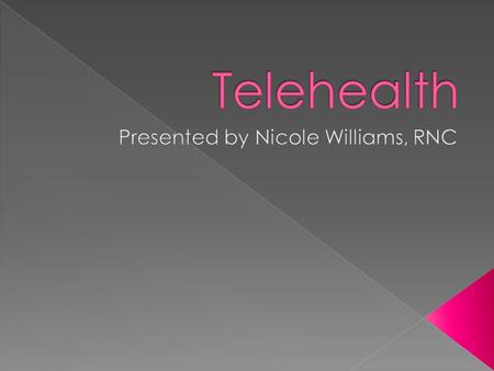  Describe Telehealth  Describe and evaluate the hardware and software used in Telehealth  Assess the usability of Telehealth.