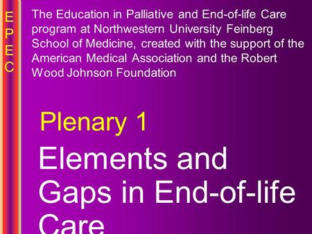 EPECEPEC Elements and Gaps in End-of-life Care Plenary 1 The Education in Palliative and End-of-life Care program at Northwestern University Feinberg School.
