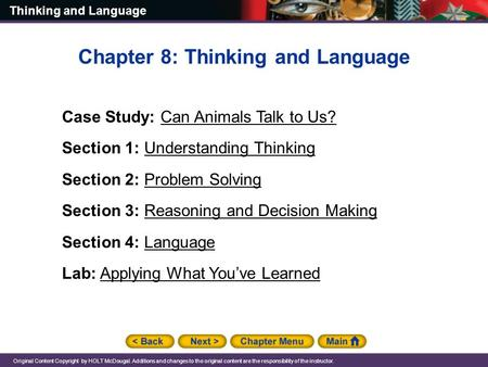 Chapter 8: Thinking and Language