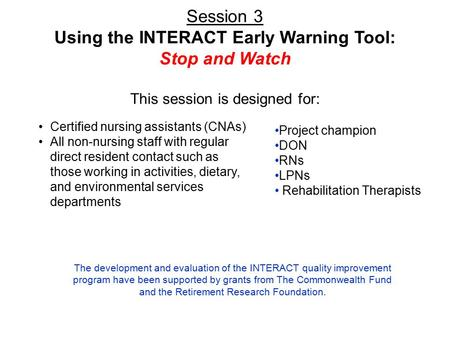 Using the INTERACT Early Warning Tool: