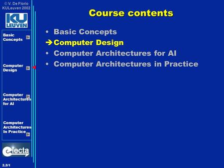 © V. De Florio KULeuven 2002 Basic Concepts <strong>Computer</strong> Design <strong>Computer</strong> Architectures for AI <strong>Computer</strong> Architectures In Practice 2.3/1 Course contents Basic.