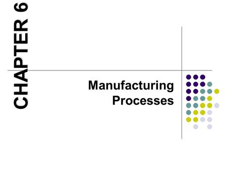 Manufacturing Processes CHAPTER 6. Learning Objectives 1. Demonstrate how production processes are organized. 2. Explain the trade-offs that need to be.