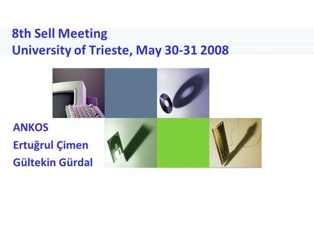 8th Sell Meeting University of Trieste, May 30-31 2008 ANKOS Ertuğrul Çimen Gültekin Gürdal.