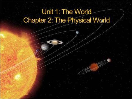 Unit 1: The World Chapter 2: The Physical World. Our Solar System  Sun and the objects that revolve around it  Center is sun (ball of burning gases)