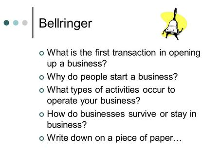 Bellringer What is the first transaction in opening up a business? Why do people start a business? What types of activities occur to operate your business?