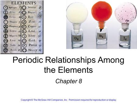Periodic Relationships Among the Elements Chapter 8 Copyright © The McGraw-Hill Companies, Inc. Permission required for reproduction or display.