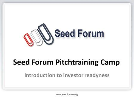 Seed Forum Pitchtraining Camp