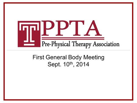 First General Body Meeting Sept. 10 th, 2014. Let Us Introduce Ourselves Morgan McGrane President Nick Perugini Vice President.