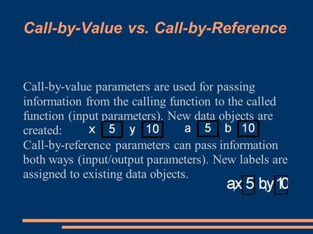 Call-by-Value vs. Call-by-Reference Call-by-value parameters are used for passing information from the calling function to the called function (input parameters).