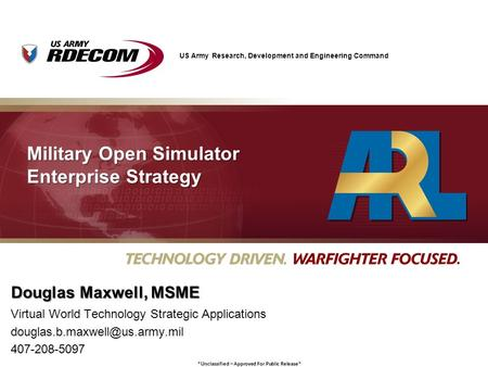 Military Open Simulator Enterprise Strategy