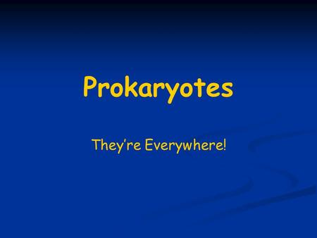 Prokaryotes They're Everywhere!. References Bergey's Manual of Determinative Bacteriology Provides identification schemes for identifying bacteria and.