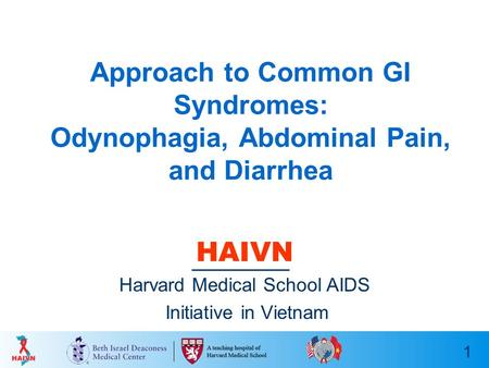 1 Approach to Common GI Syndromes: Odynophagia, Abdominal Pain, and Diarrhea HAIVN Harvard Medical School AIDS Initiative in Vietnam.