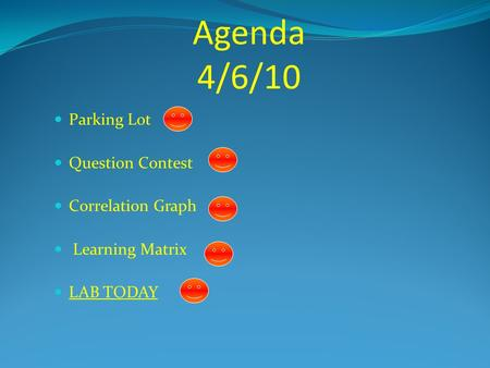 Agenda 4/6/10 Parking Lot Question Contest Correlation Graph Learning Matrix LAB TODAY.
