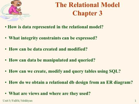 Unit 3/Fall04/Melikyan1 The Relational Model Chapter 3 How is data represented in the relational model? What integrity constraints can be expressed? How.