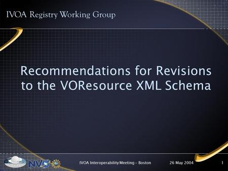 26 May 2004IVOA Interoperability Meeting - Boston1 Recommendations for Revisions to the VOResource XML Schema IVOA Registry Working Group.
