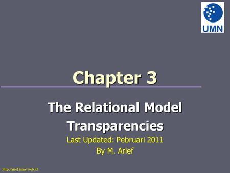 Chapter 3 The Relational Model Transparencies Last Updated: Pebruari 2011 By M. Arief