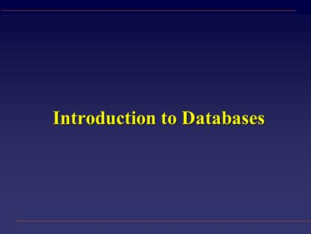 Introduction to Databases. Data vs. Information u Data – a collection of facts made up of text, numbers and dates: Murray 35000 7/18/86 u Information.