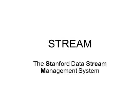 STREAM The Stanford Data Stream Management System.