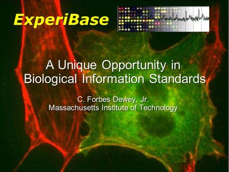 © © cfdewey 2004 A Unique Opportunity in Biological Information Standards C. Forbes Dewey, Jr. Massachusetts Institute of Technology ExperiBase.